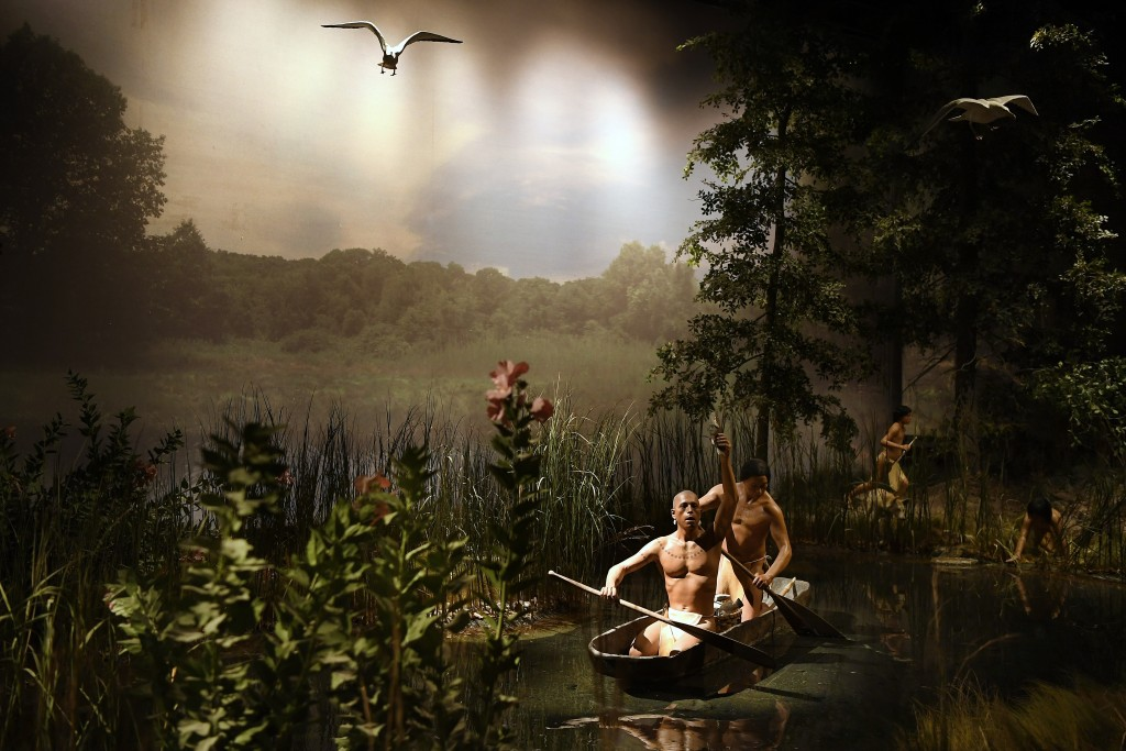 An exhibit from the Pequot Village is seen at the Mashantucket Pequot Museum & Research Center, in Mashantucket, Conn., Wednesday, Aug. 28, 2021. The ...