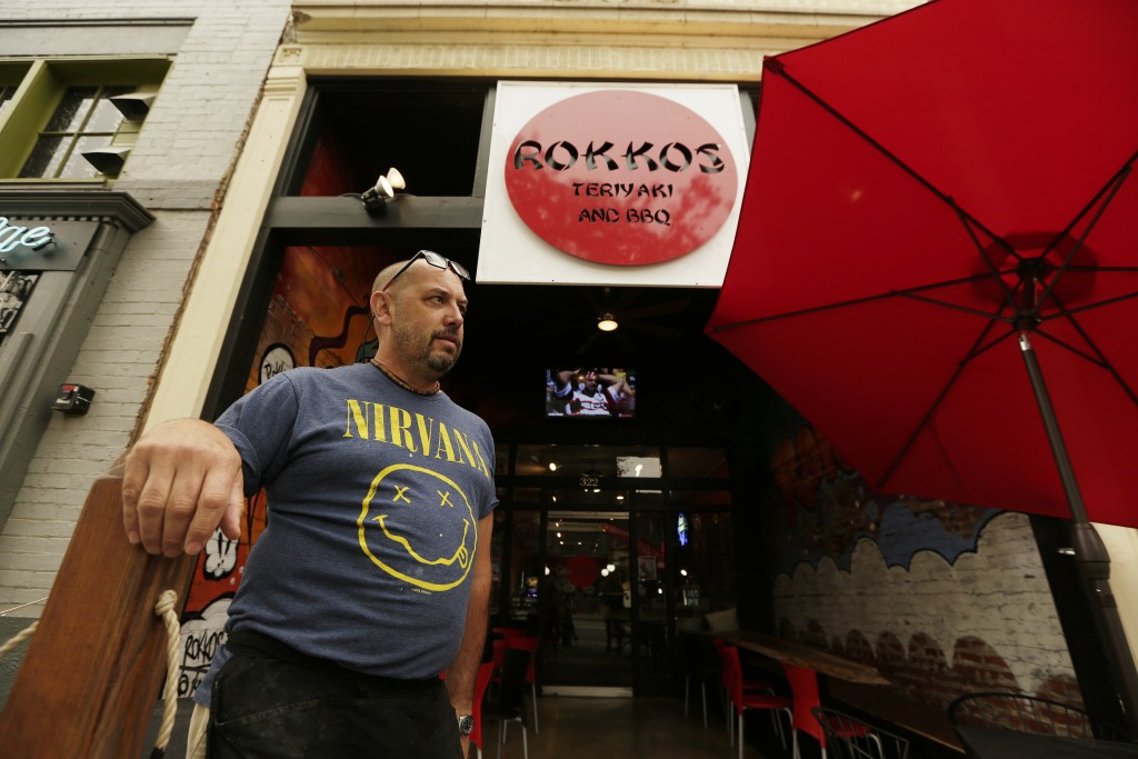 David Hall, co-owner at Rokkos Teriyaki and BBQ, speaks about the effects on business due to coronavirus, Friday, Sept. 10, 2021, in Coeur d'Alene, Id...
