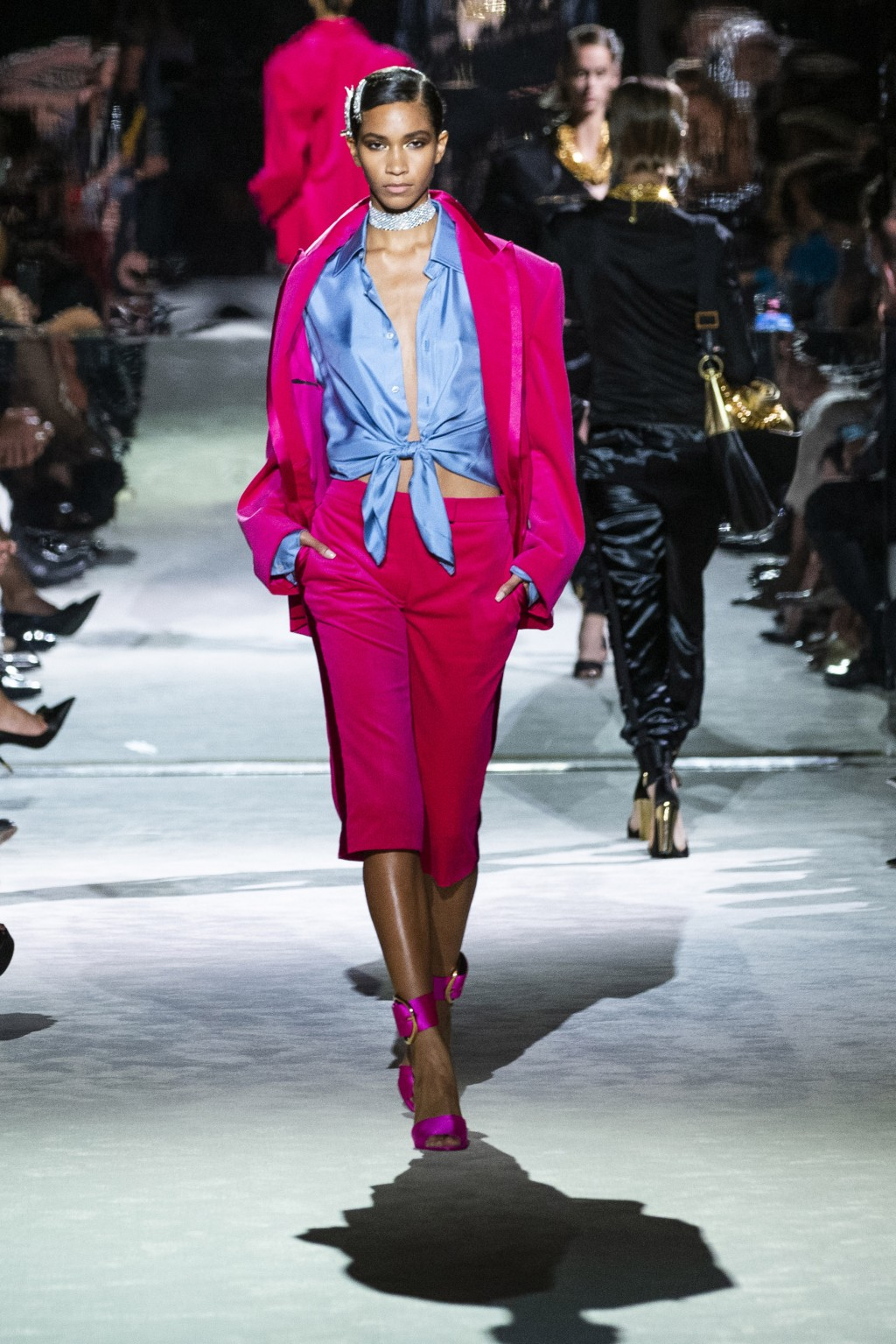 A model walks the runway at the Tom Ford spring/summer 2022 fashion show at Lincoln Center during New York Fashion Week on Sunday, Sept. 12, 2021. (AP...
