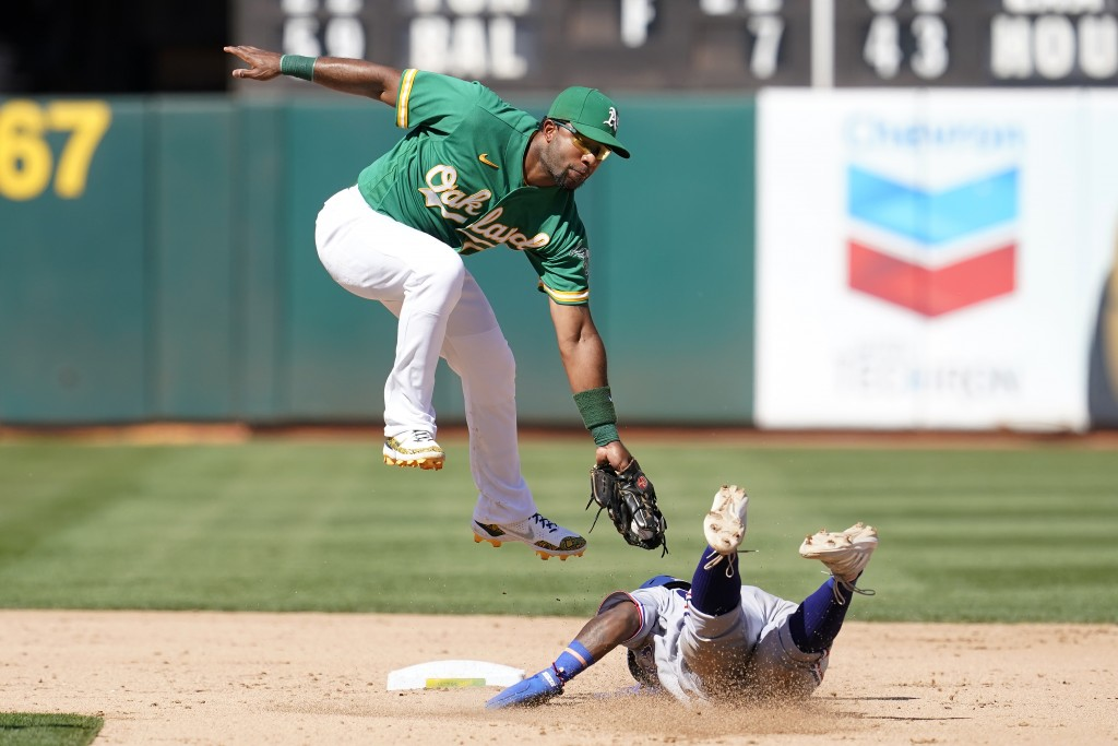 Texas Rangers' Yonny Hernandez, right, steals second base against Oakland Athletics shortstop Elvis Andrus during the sixth inning of a baseball game ...