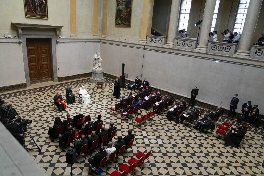 Pope Francis delivers his speech during a meeting with Hungary's bishops, at Budapest's Museum of Fine Arts, Sunday, Sept. 12, 2021. Francis is openin...