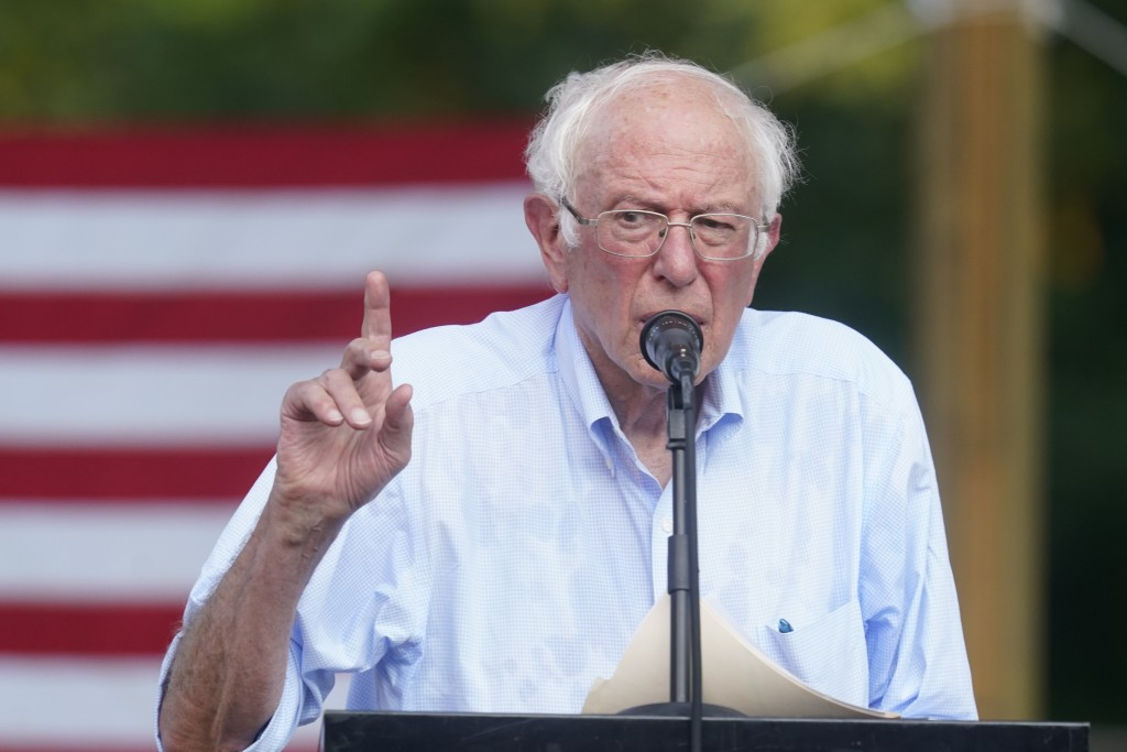 """Sen. Bernie Sanders, I-Vt., speaks during town hall at Tippecanoe County Amphitheater, Friday, Aug. 27, 2021, in West Lafayette, Ind. """"My Republican c..."""