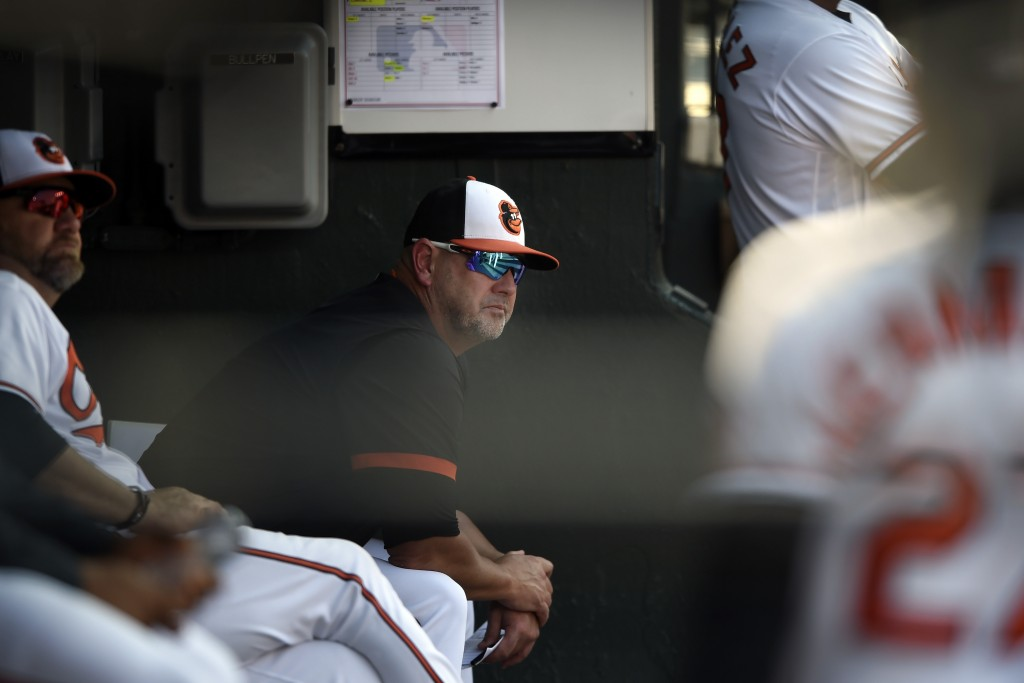 Baltimore Orioles manager Brandon Hyde, center, looks toward the scoreboard in the sixth inning of a baseball game against the Toronto Blue Jays, Sund...