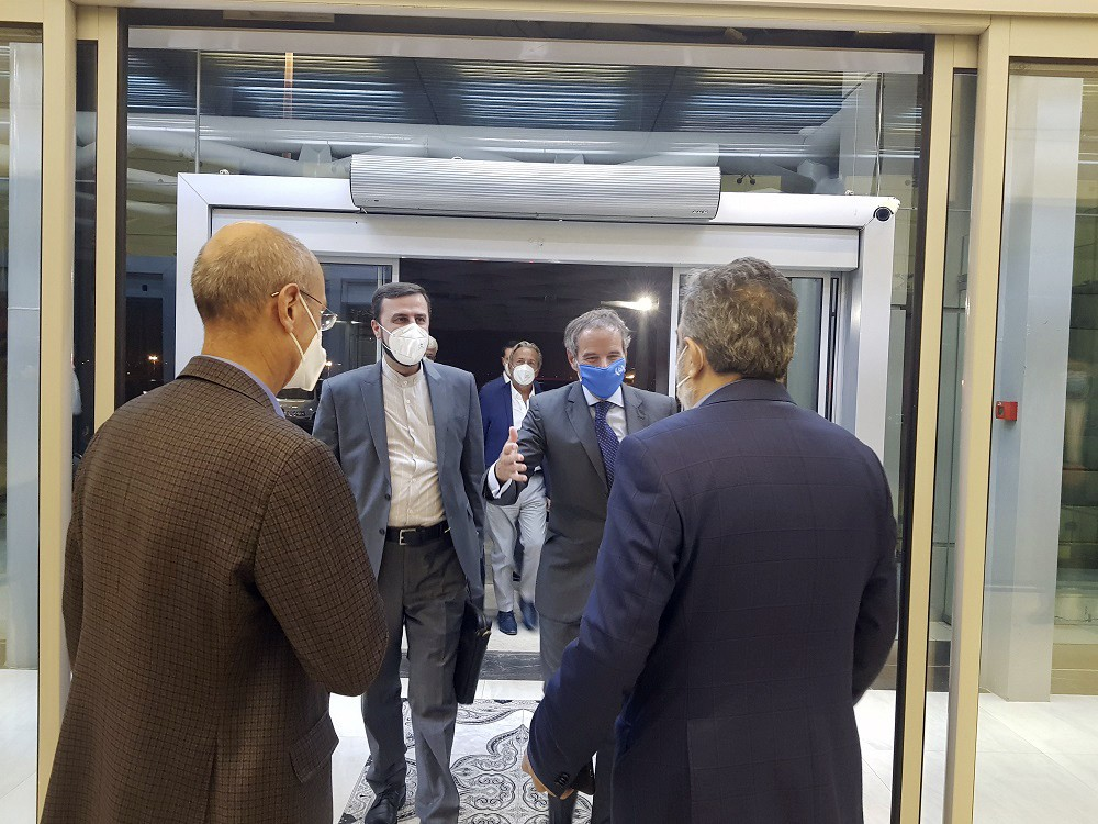 Director General of International Atomic Energy Agency, IAEA, Rafael Mariano Grossi, second right, is welcomed by Deputy Head of the Atomic Energy Org...