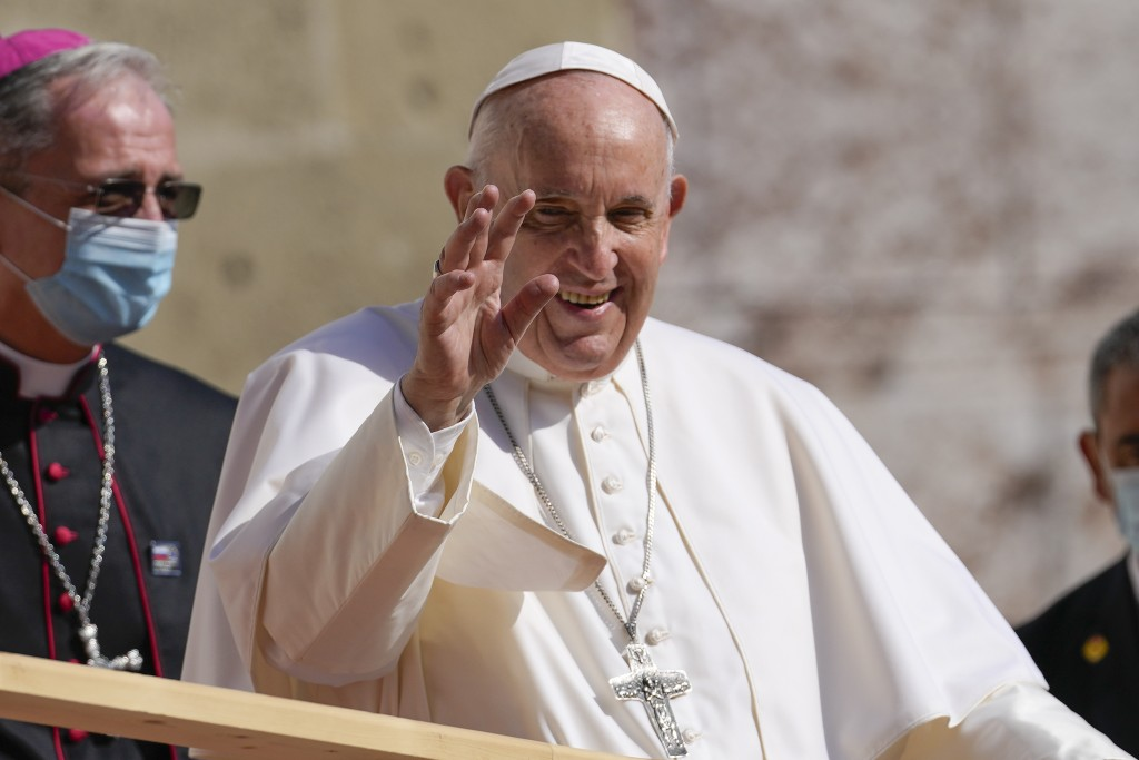 Pope Francis arrives at the Cathedral of Saint Martin, in Bratislava, Slovakia, Monday, Sept. 13, 2021. Francis is on a four-day visit to Central Euro...