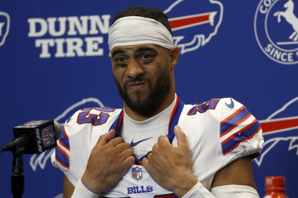 Buffalo Bills strong safety Micah Hyde meets with reporters following a loss to the Pittsburgh Steelers in an NFL football game in Orchard Park, N.Y.,...