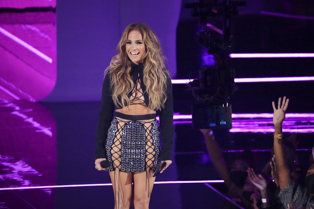 Jennifer Lopez presents the award for song of the year at the MTV Video Music Awards at Barclays Center on Sunday, Sept. 12, 2021, in New York. (Photo...