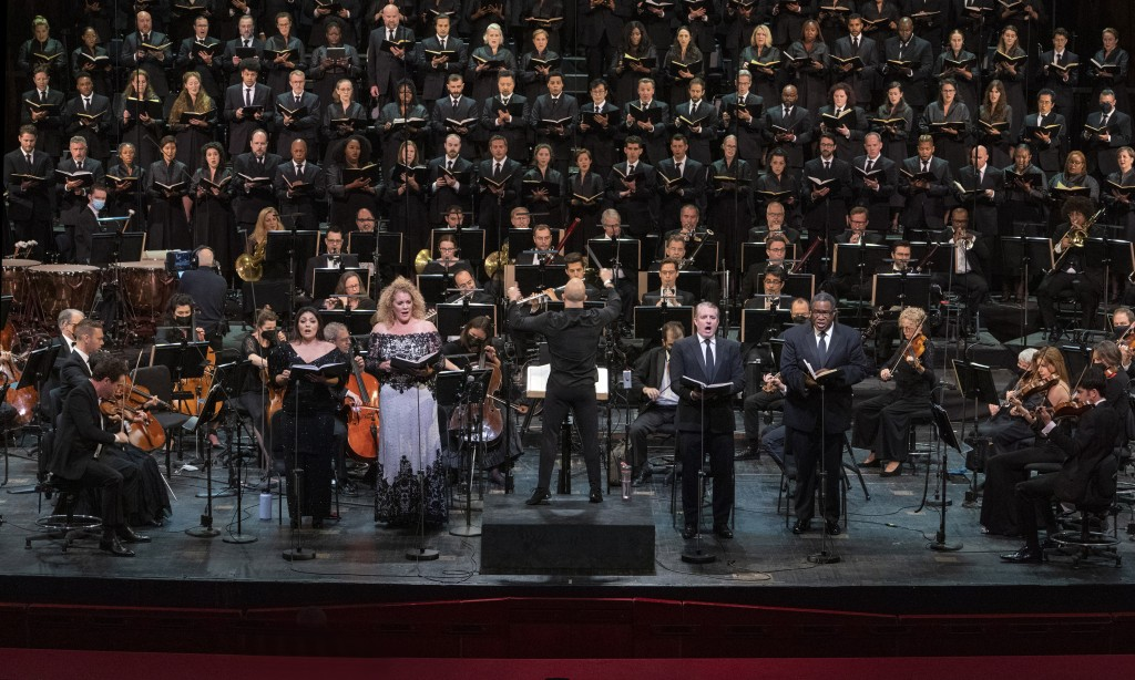 This photo provided by The Metropolitan Opera shows a rehearsal  for Verdi Requiem on Thursday, Sept. 9, 2021 at The Metropolitan Opera in New York.  ...