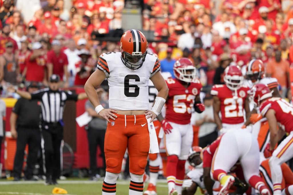 Cleveland Browns quarterback Baker Mayfield reacts after a penalty was called against his team during the second half of an NFL football game against ...