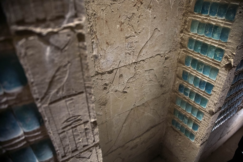 Inscriptions adorn a wall of the southern cemetery of King Djoser, after its restoration, near the famed Step Pyramid, in Saqqara, south of Cairo, Egy...