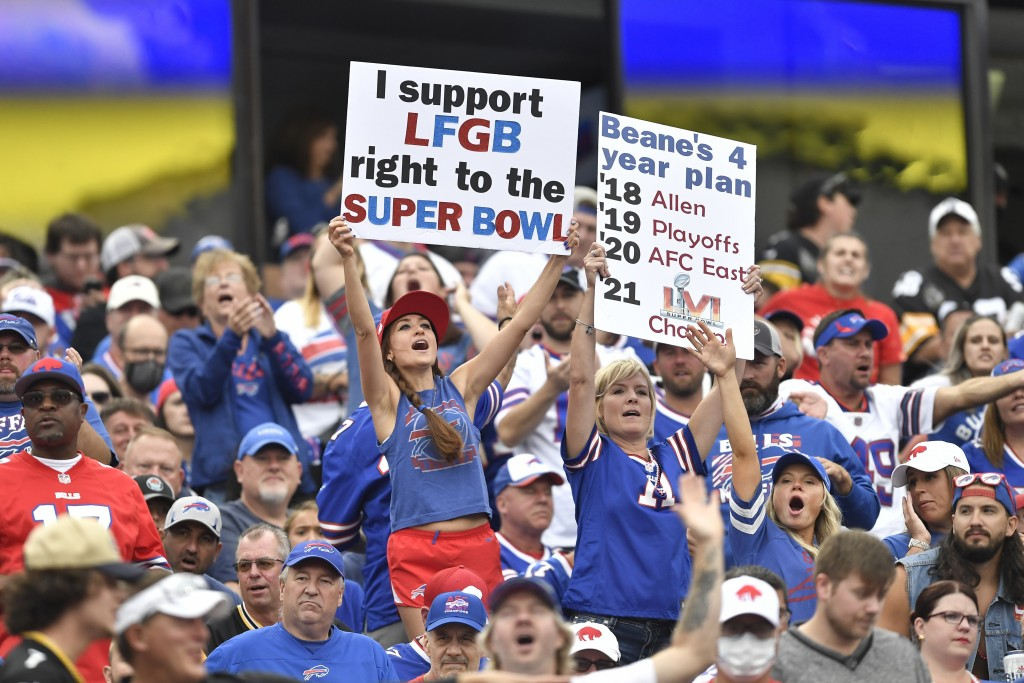 Fans cheer during the first half of an NFL football game between the Buffalo Bills and the Pittsburgh Steelers in Orchard Park, N.Y., Sunday, Sept. 12...