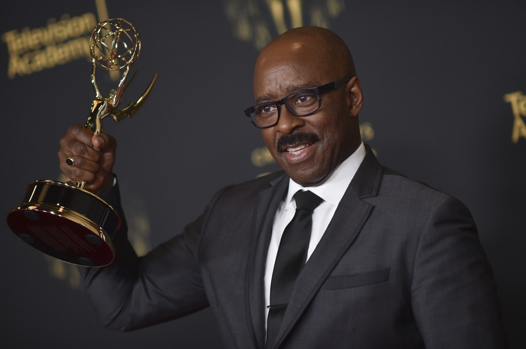 """Courtney B. Vance poses with the award for outstanding guest actor in a drama series for """"Lovecraft Country"""" on night two of the Creative Arts Emmy Aw..."""