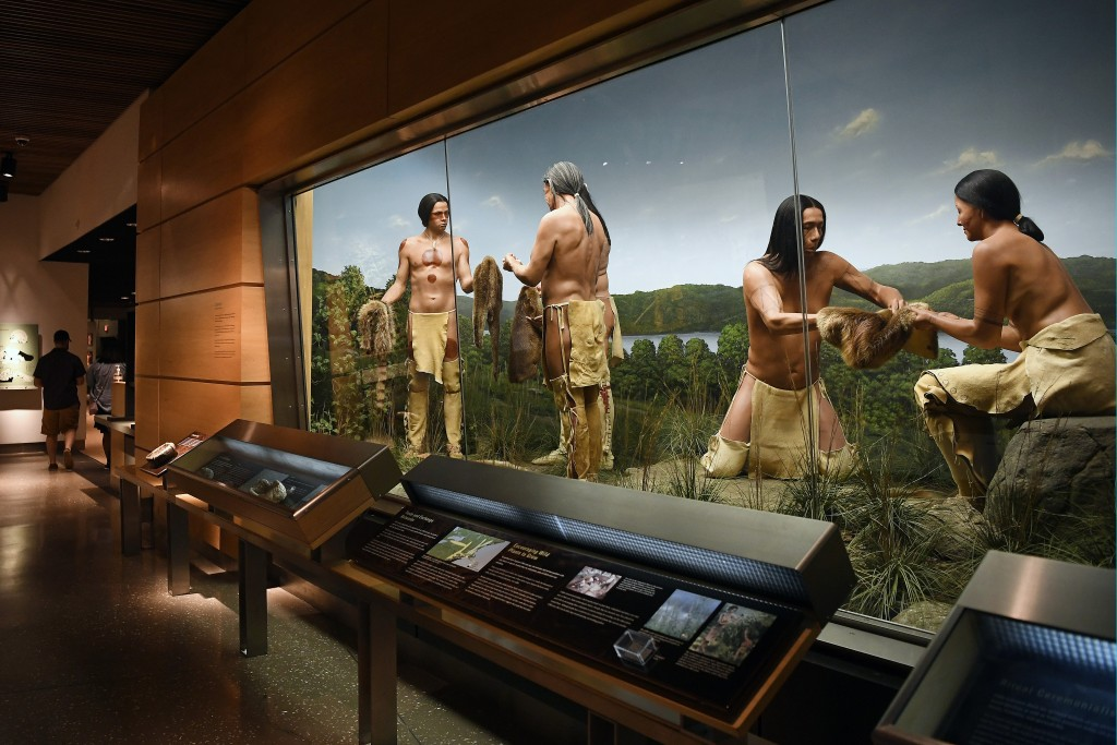 An exhibit on the fur trade is seen at the Mashantucket Pequot Museum & Research Center, in Mashantucket, Conn., Wednesday, Aug. 28, 2021. The museum ...