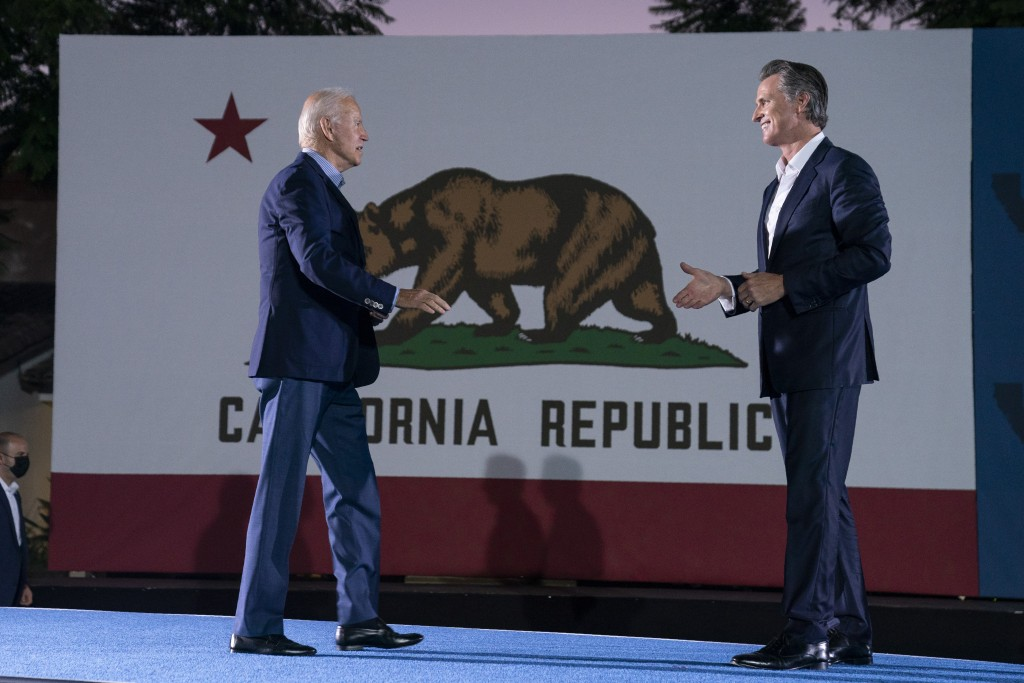 President Joe Biden arrives at a get out the vote rally for Gov. Gavin Newsom, D-Calif., at Long Beach City College, Monday, Sept. 13, 2021, in Long B...