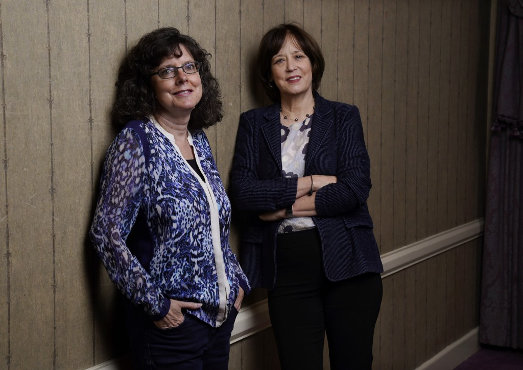 """Julie Cohen, left, and Betsy West, the co-directors of the documentary film """"Julia,"""" pose together for a portrait during the 2021 Toronto Internationa..."""