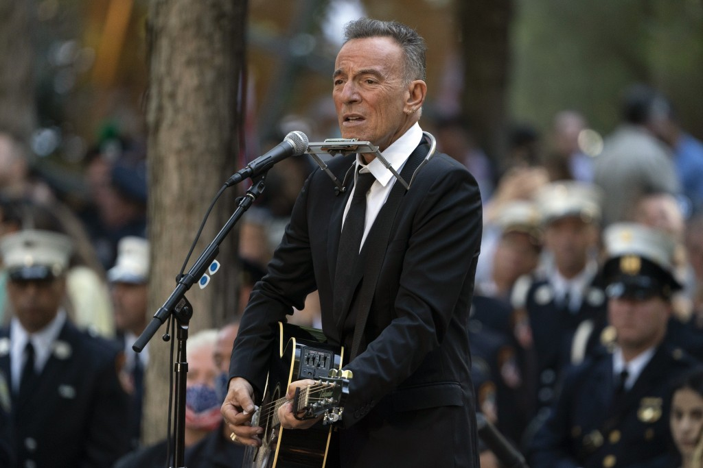 FILE - In this Saturday, Sept. 11, 2021, file photo, Bruce Springsteen performs during ceremonies to commemorate the 20th anniversary of the 9/11 terr...