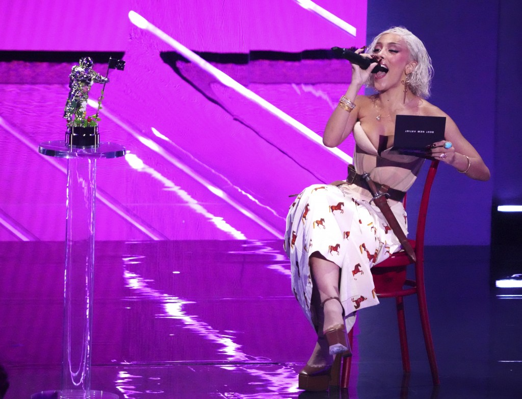 Host Doja Cat presents the award for best new artist at the MTV Video Music Awards at Barclays Center on Sunday, Sept. 12, 2021, in New York. (Photo b...
