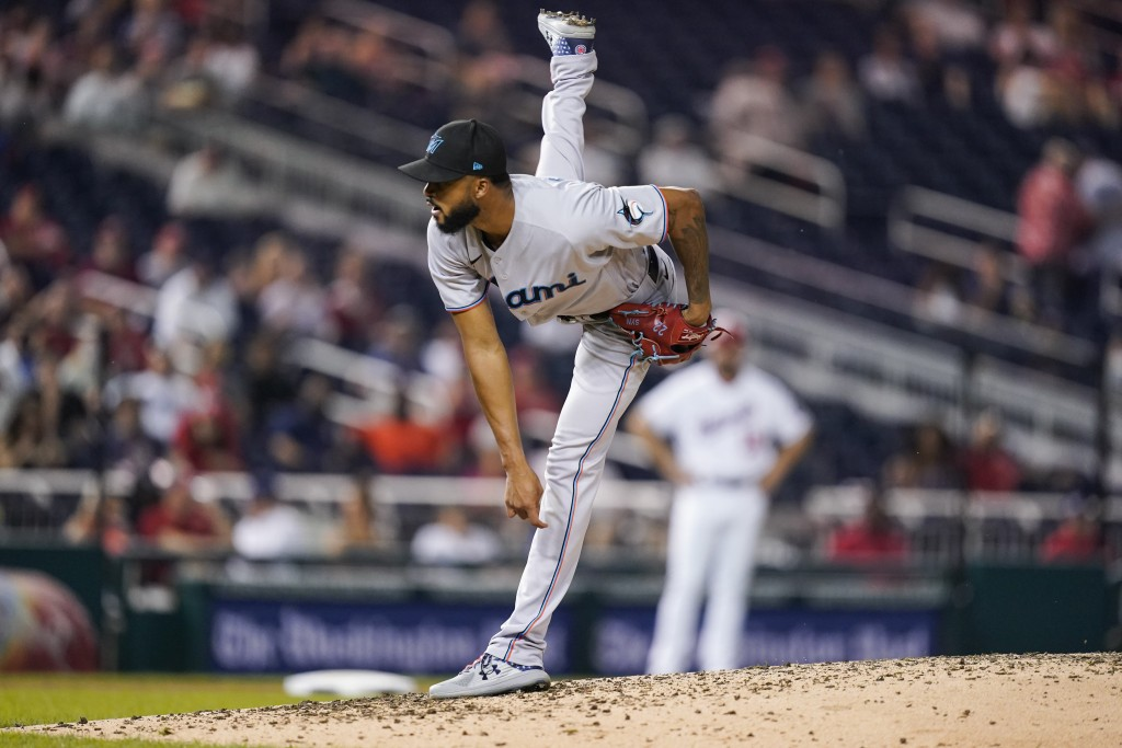 Miami Marlins starting pitcher Sandy Alcantara throws during the fifth inning of a baseball game against the Washington Nationals at Nationals Park, M...