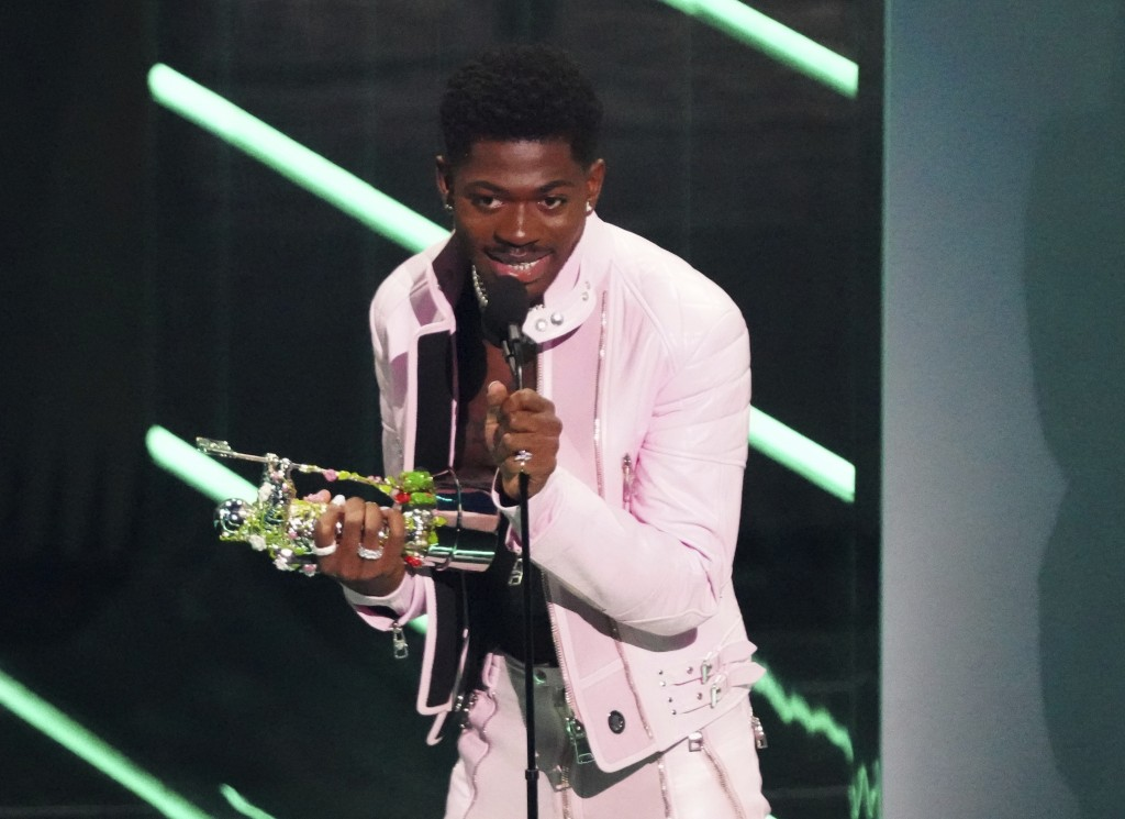 """Lil Nas X accepts the award for video of the year for """"Montero (Call Me By Your Name)"""" at the MTV Video Music Awards at Barclays Center on Sunday, Sep..."""