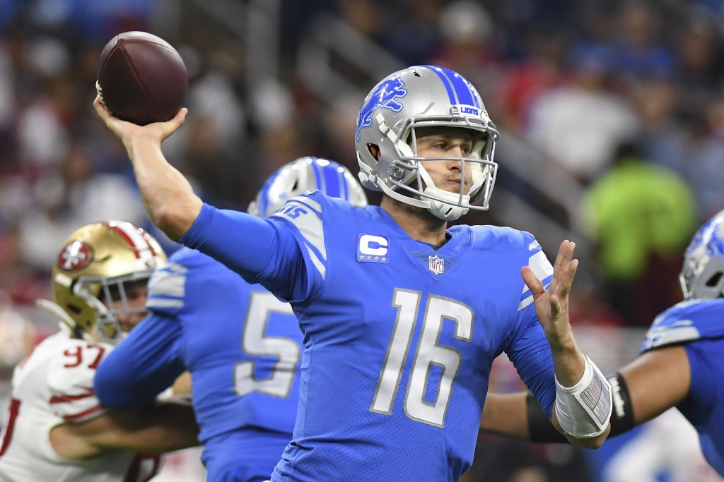 Detroit Lions quarterback Jared Goff (16) throws against the San Francisco 49ers in the second half of an NFL football game in Detroit, Sunday, Sept. ...