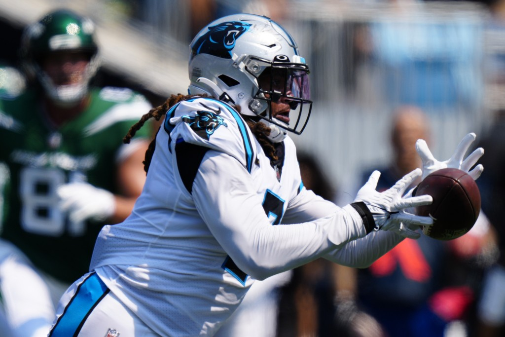 Carolina Panthers outside linebacker Shaq Thompson intercepts a pass against the New York Jets during the first half of an NFL football game Sunday, S...