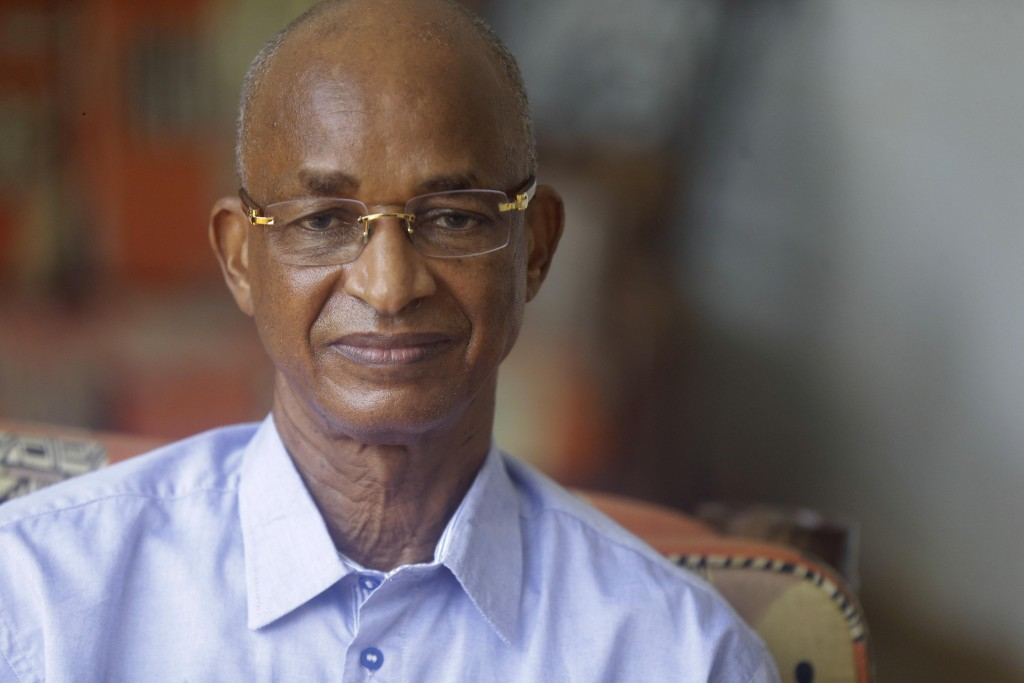 Guinea's Opposition Leader and former Presidential Candidates Cellou Dalein Diallo, listens to a question during an interview with the Associated Pres...
