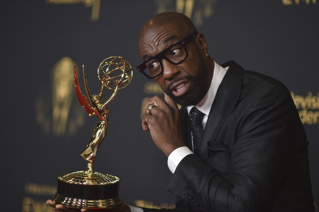 """J.B. Smoove poses with the award for outstanding actor in a short form comedy or drama series for """"Mapleworth Murders"""" on night two of the Creative Ar..."""