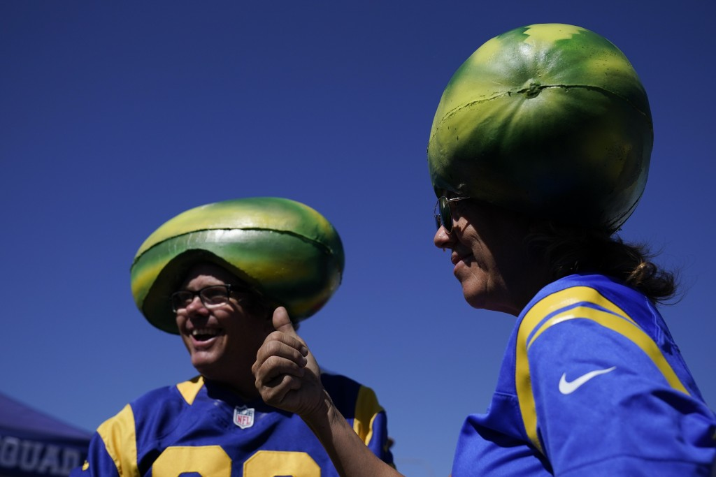 Fans for the Los Angeles Rams tailgate before an NFL football game against the Chicago Bears at SoFi Stadium Sunday, Sept. 12, 2021, in Inglewood, Cal...