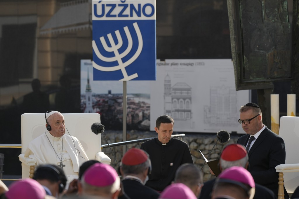 Pope Francis meets members of the Jewish community in Bratislava, Slovakia, Monday, Sept. 13, 2021. Ahead of a rigorous two days hop-scotching around ...