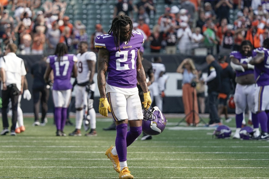 Minnesota Vikings defensive back Bashaud Breeland (21) walks off the field after losing to the Cincinnati Bengals in overtime of an NFL football game,...