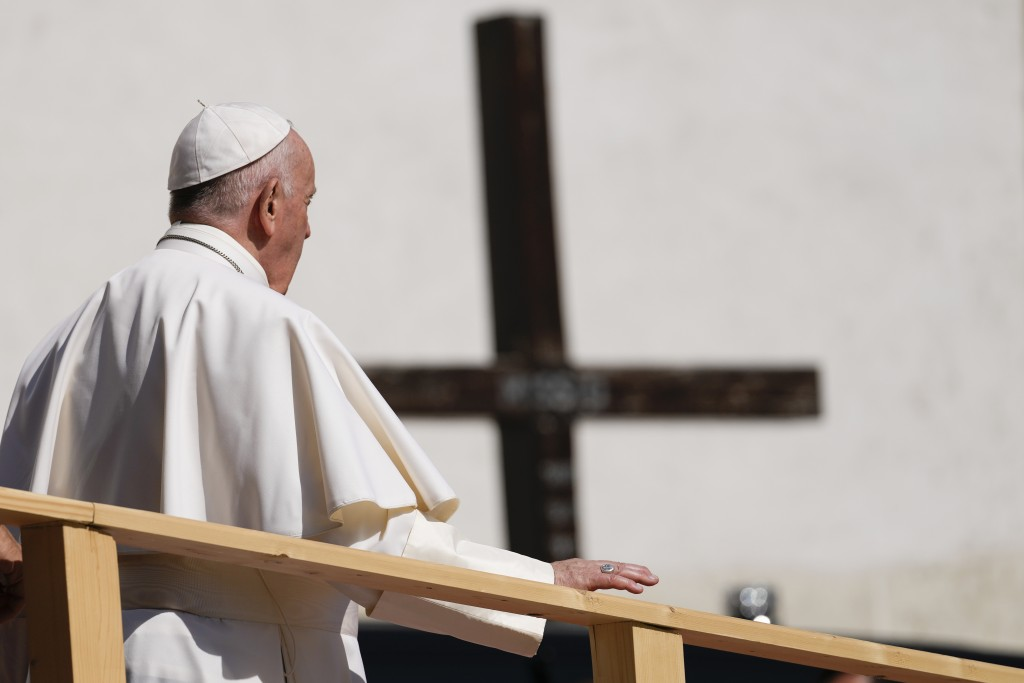 Pope Francis leaves the Cathedral of Saint Martin, in Bratislava, Slovakia, Monday, Sept. 13, 2021. Francis is on a four-day visit to Central Europe, ...