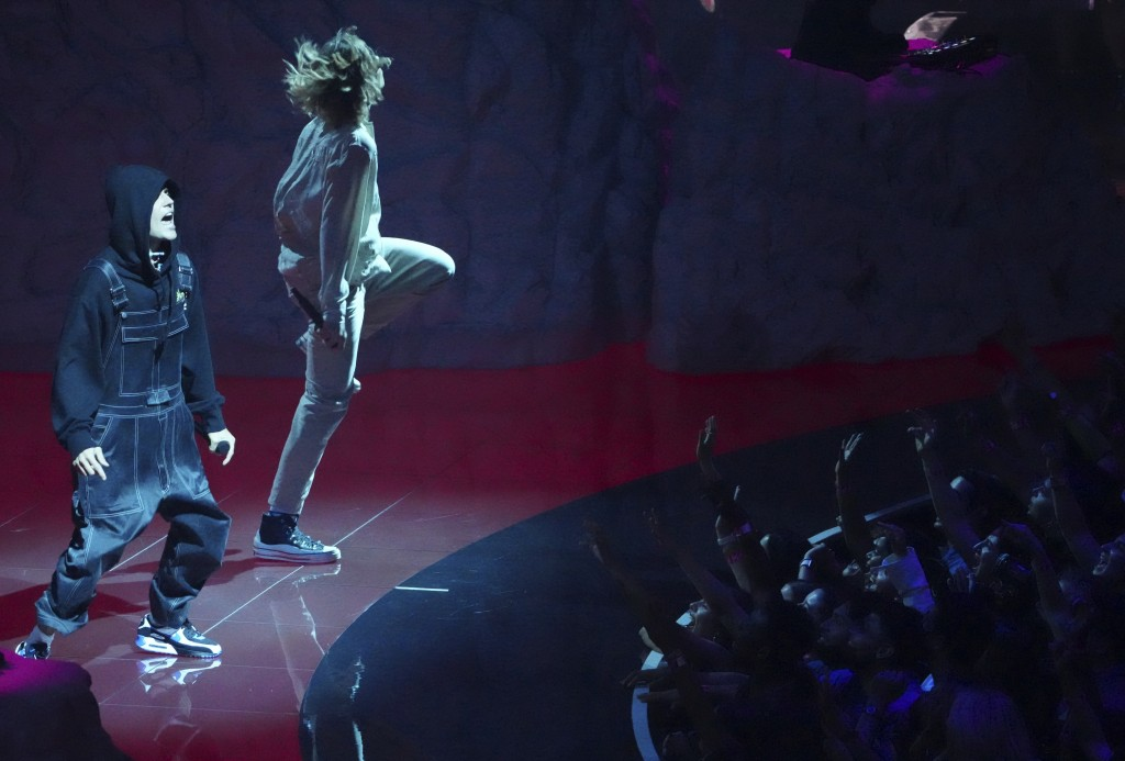 """Justin Bieber, left, and The Kid Laroi perform """"Stay""""at the MTV Video Music Awards at Barclays Center on Sunday, Sept. 12, 2021, in New York. (Photo b..."""