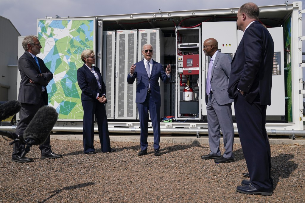 President Joe Biden speaks during a tour of the Flatirons campus of the National Renewable Energy Laboratory, Tuesday, Sept. 14, 2021, in Arvanda, Col...