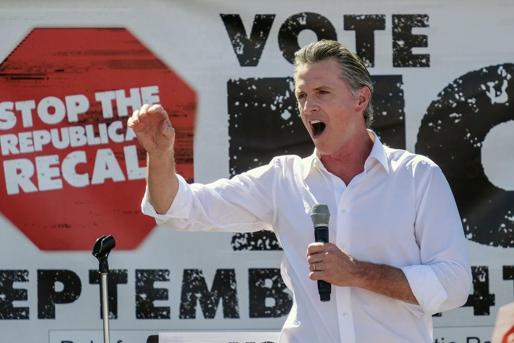 California Gov. Gavin Newsom speaks at a rally against the California gubernatorial recall election on Sunday, Sept. 12, 2021, in Sun Valley, Calif. (...