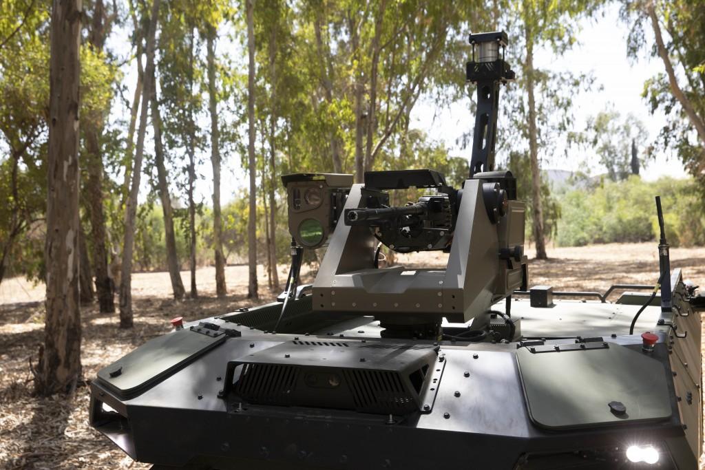 "Israel Aerospace Industries' semi-autonomous four-wheel-drive ""REX MKII"" is seen at an IAI facility near the central Israeli city of Lod, Thursday, Se..."