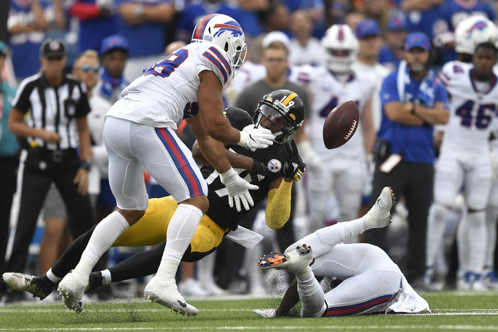 Buffalo Bills outside linebacker Matt Milano (58) breaks up a pass intended for Pittsburgh Steelers wide receiver JuJu Smith-Schuster (19) during the ...