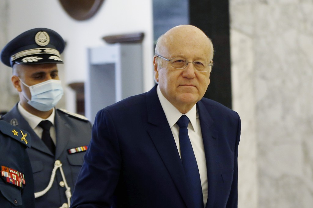 Lebanese Prime Minister Najib Mikati, arrives to attend a cabinet meeting at the presidential palace in Baabda, east of Beirut, Lebanon, Monday, Sept....