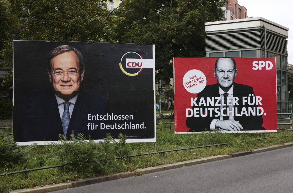 """Election campaign posters of the Christian Union parties show Chancellor candidate Armin Laschet, left, with the slogan: """"Determined for Germany"""" and ..."""