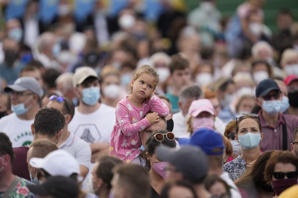 People wait for Pope Francis atLokomotivaStadium inKošice, Slovakia, Tuesday, Sept. 14, 2021. Francis first trip since undergoing intestinal surge...
