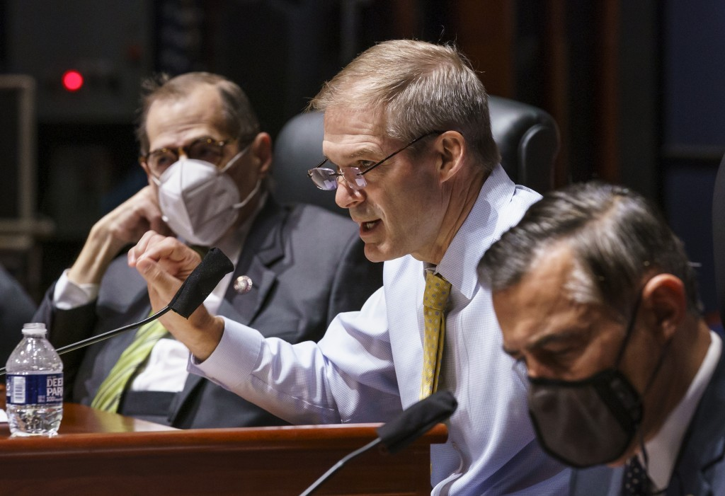 House Judiciary Committee Chair Jerrold Nadler, D-N.Y., left, listens as Rep. Jim Jordan, R-Ohio, the ranking member, makes an opening statement durin...