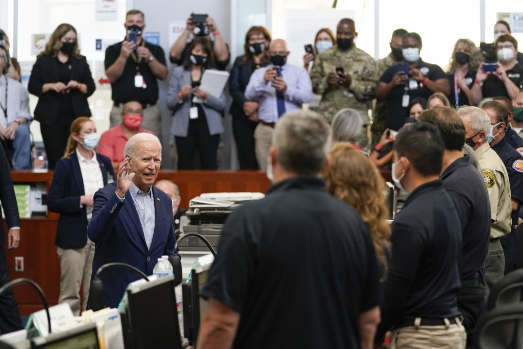 President Joe Biden speaks during a briefing on wildfires at the California Governor's Office of Emergency Services, Monday, Sept. 13, 2021, in Mather...