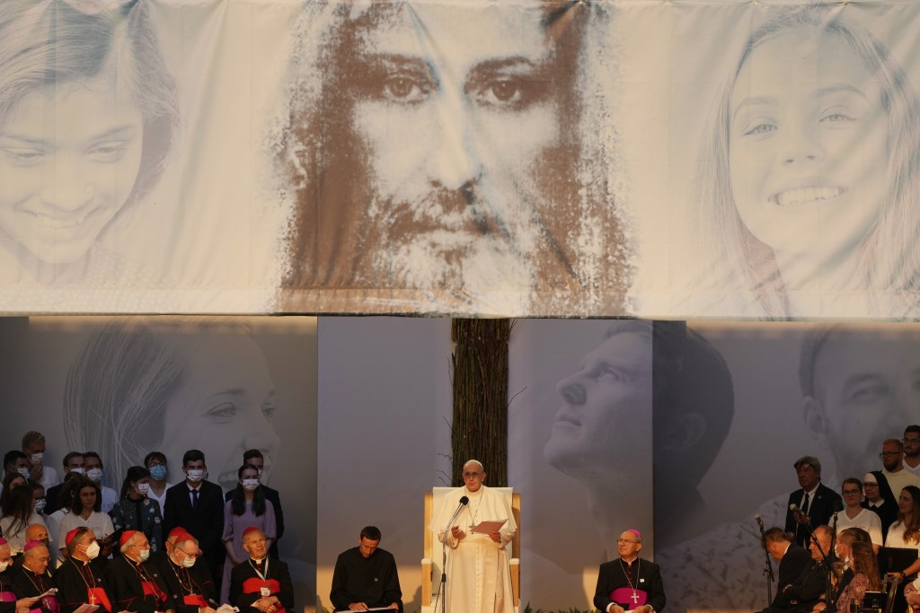 Pope Francis meets with young people atLokomotivaStadium inKošice, Slovakia, Tuesday, Sept. 14, 2021. Francis first trip since undergoing intestin...