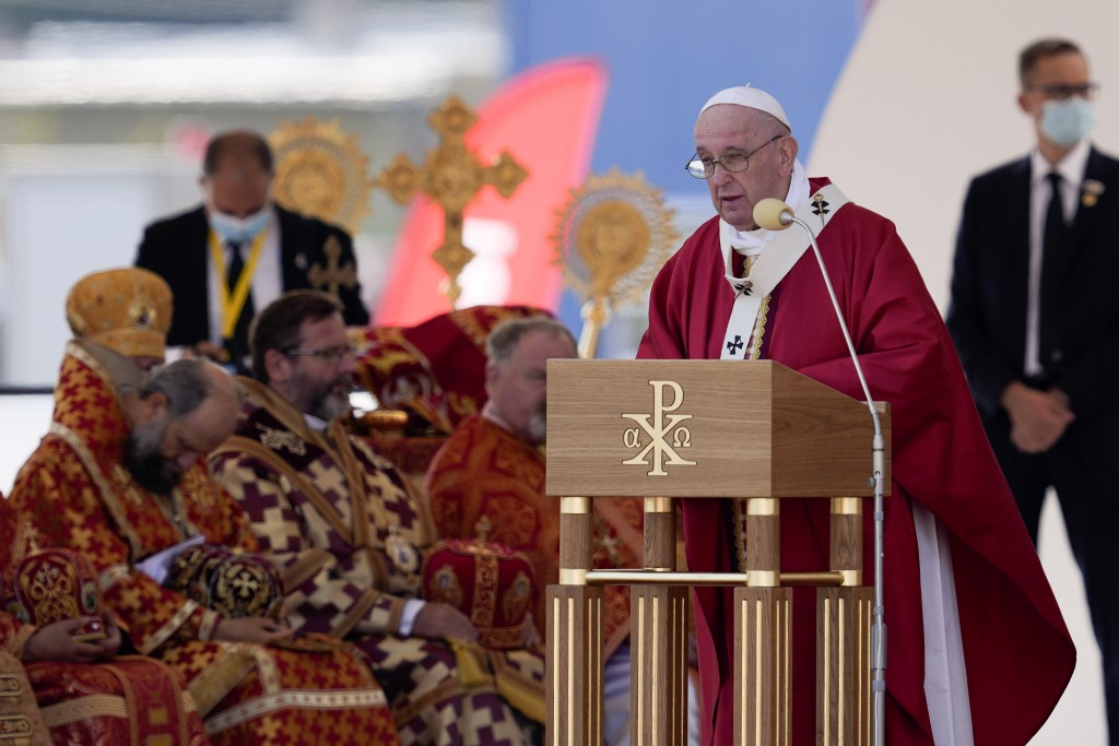 Pope Francis celebrates a Byzantine rite Mass at Mestska sportova hala Square, in Presov, Slovakia, Tuesday, Sept. 14, 2021. Pope Francis is on a four...