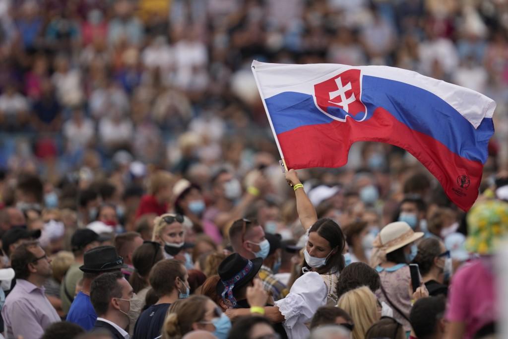 Faithful wait for Pope Francis atLokomotivaStadium inKošice, Slovakia, Tuesday, Sept. 14, 2021. Francis first trip since undergoing intestinal sur...