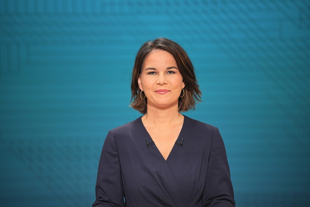 Chancellor candidate Annalena Baerbock (Green Party) in the TV studio in Berlin, Sunday, Sept. 12, 2021. With two weeks left before Germany's national...