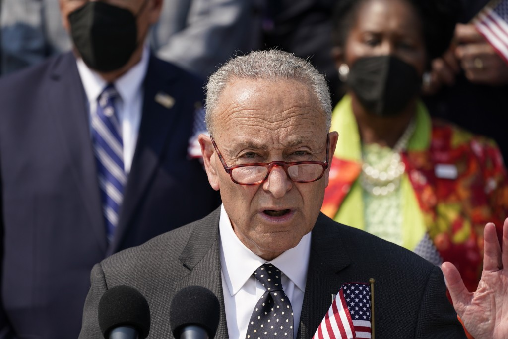 Senate Majority Leader Chuck Schumer, D-N.Y., speaks during a Sept. 11 remembrance ceremony, at the Capitol in Washington, Monday, Sept. 13, 2021. (AP...