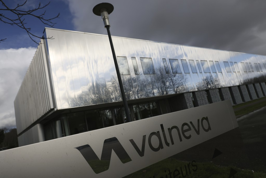 FILE - In this Feb. 3 2021 file photo, the French vaccine startup Valneva headquarters is pictured in Saint-Herblain, western France. A French pharmac...