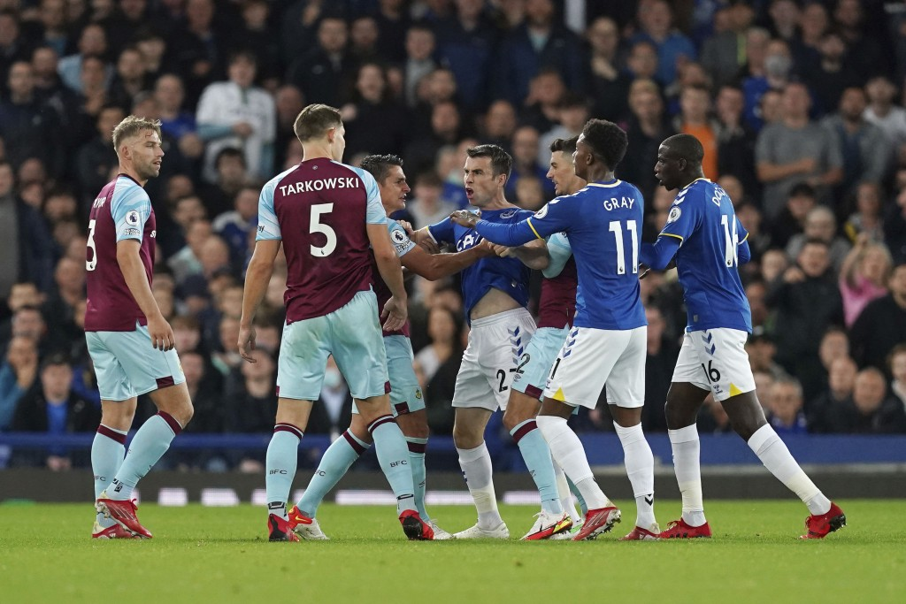 Tempers flare between Everton and Burnley players during their English Premier League soccer match at Goodison Park, Liverpool, England, Monday, Sept....