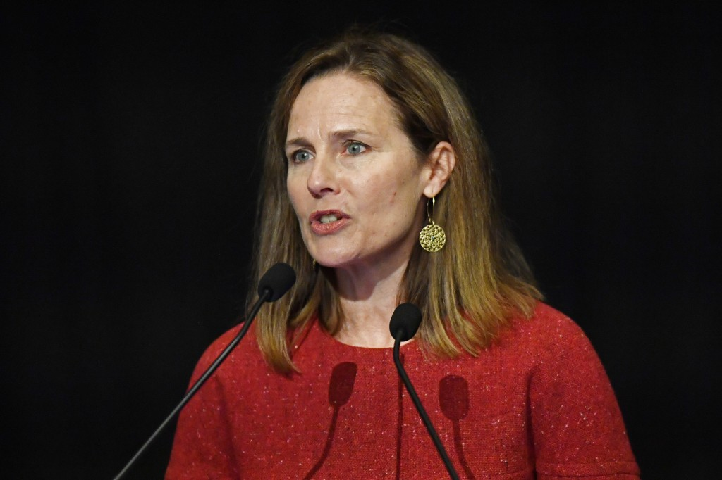 U.S. Supreme Court Associate Justice Amy Coney Barrett speaks to an audience at the 30th anniversary of the University of Louisville McConnell Center ...