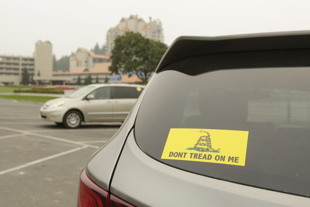 A vehicle with a Gadsden flag sticker is parked in the lot at Independence Point, Friday, Sept. 10, 2021, in Coeur d'Alene, Idaho.  Northern Idaho has...